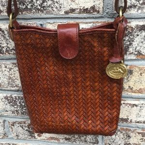 Vintage Brahmin Brown Leather Weave Crossbody Bag